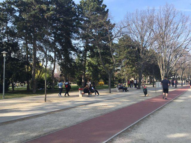 margit szigeti futópálya, sok jogger, piknikező, gyerek